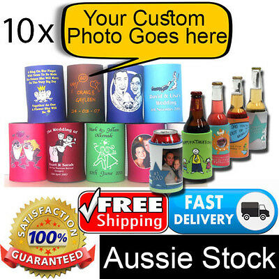 10x Personalised Photo Quality Stubby Coolers Holders Bottle Can Beer Soda Drink