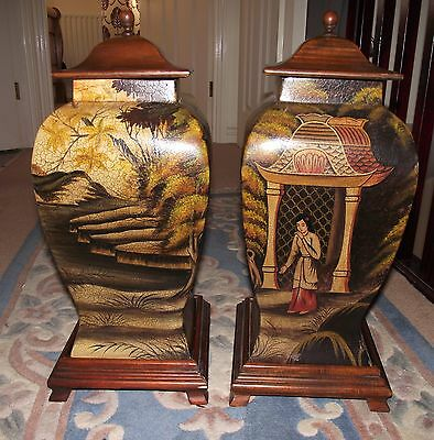 """ Pair Of Vietnamese Wooden Pots ""  With Art Decor,"