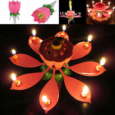 Pretty Musical Lotus Rotating Flower Cake Candle Happy Birthday Party Gift HOT