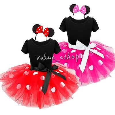 Kids Girls Baby Toddler Cartoon Mouse Party Costume Ballet Tutu Dress Clothes