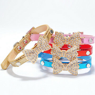 Small Pet Dog Cat Collar Bling Rhinestone Bowknot Puppy Collar Adjustable XS S M