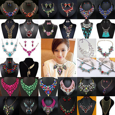 Fashion Crystal Pendant Necklace Statement Bib Charm Chain Choker Chunky Jewelry