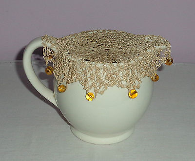 Vintage/antique Beaded Cream Crochet Milk Jug Cover With Yellow Glass Beads