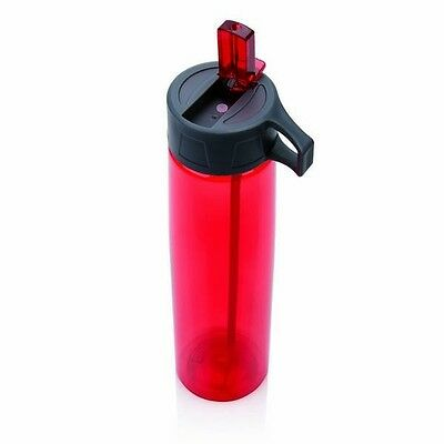 Tritan Wall Water Bottle With Straw in Red by Loooqs Large 750ml capacity