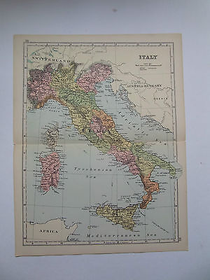 ITALY- ANTIQUE MAP BY BACON DATED 1890  25cm x 33cm