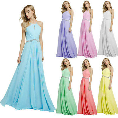 Long Formal Dress Bridesmaid Ball Gown Chiffon Evening Cocktail Party Prom Sling