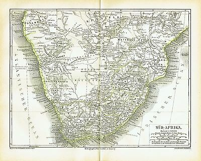 South Africa antique map 1876 - Cape Town Johannesburg Durban Pretoria Limpopo