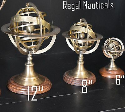Handmade Solid Brass Sphere World Globe Armillary Set of Three With Wood Base