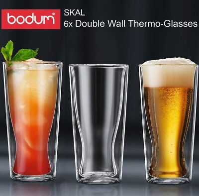 Bodum Skal Double Wall Thermo Glasses 350ml Set of 6 Cups  Brand New