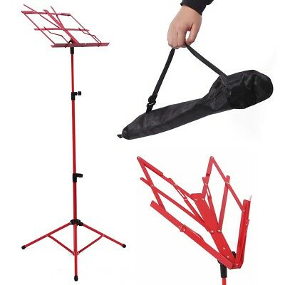 RED Pro Sheet Music Metal Stand Adjustable Holder Folding with Carry Case