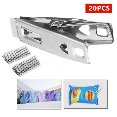 20 × Stainless Steel Clothes Pegs Windproof Laundry Hanger Hanging Pins Clips