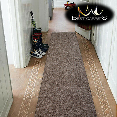 THICK INV CHEAP RUNNER HALLWAY PLAIN brown CORRIDOR width 50-150 cm RUGS Carpets