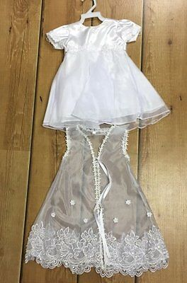 BNWT White Christening gown with detachable shrug 6 months