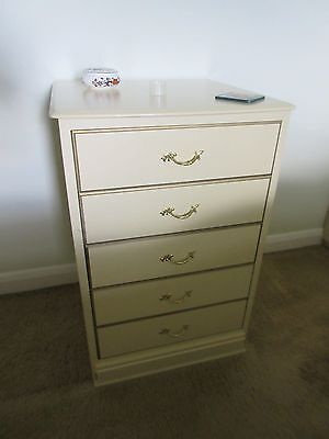 French Louis Rococo Style Cream Small Chest of Drawers