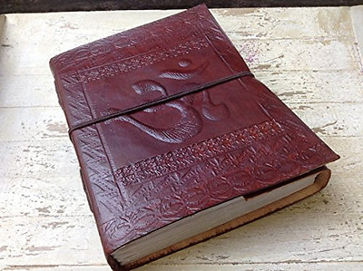 Handmade Leather Diary Journal Notebook Hand embossed with Vintage OM Shape Cove