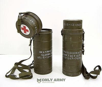 German Army Gas Mask Tin Storage Box With Strap Respirator Tool Carrier Military