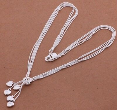 925 Sterling Silver Heart Charm Pendant Strand Necklace Chain Fashion Jewelry