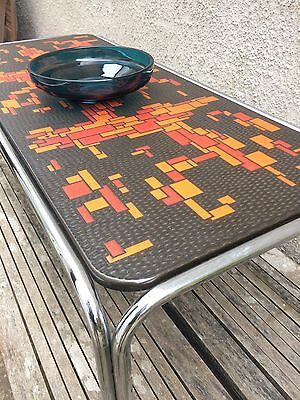 Retro Vintage Mid Century Orange / Red Patterned Top Coffee / Side Table Chrome