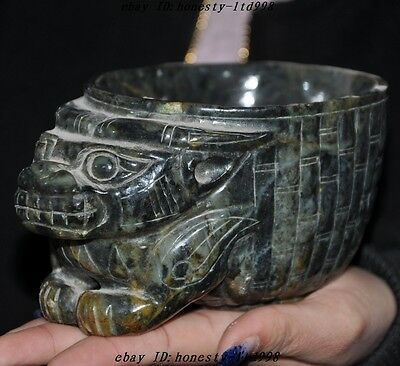 Chinese Hongshan culture Old jade Beast head Ancient statue Wineglass cup Bowl A