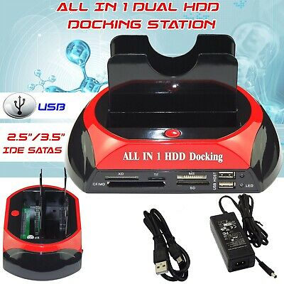 "Usb 2.0 Dual 2.5"" 3.5"" Ide Sata Hdd Hard Drive Disk Dock Docking Station"