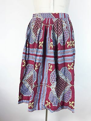 Vintage Red Skirt Blue Lavender Floral Pleated Long Swing 1950s Rockabilly