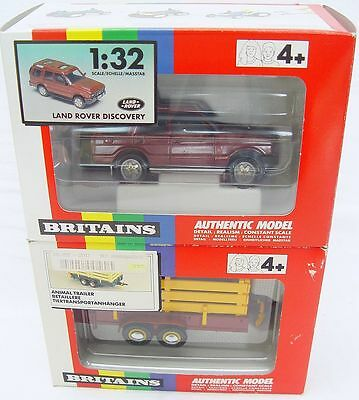 Britains Ltd 1:32 Maroon LAND ROVER DISCOVERY + ANIMAL TRAILER Set 9480 9555 MIB