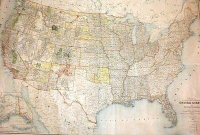 1895 Large Oversize Map of US & Indian Territories-Harry King-Original RARE