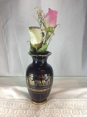 Black Ceramic Vase Hand Made Greece Painted in 24 Kt Gold Greek Key