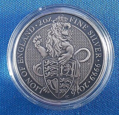Antique Finish 2016 UK Queen's Beasts - The Lion - 2 Ounce .9999 Silver Coin #21