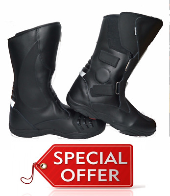 Rksports Mens Motorcycle Touring  Black Leather  Boots