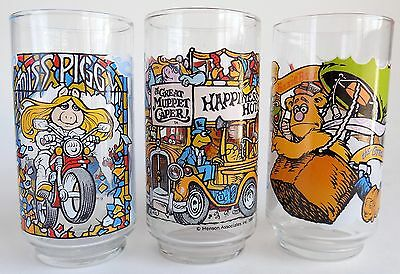 Lot of 3 McDonald's The Great Muppet Caper Drinking Glasses/Tumblers EUC