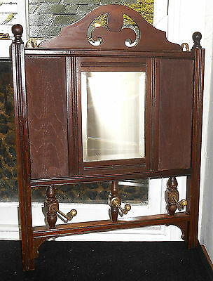 ANTIQUE MAHOGANY MIRROR & COAT WALL HANGER c.1910