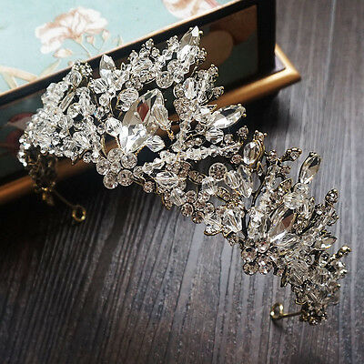 Baroque Crystal Princess Pageant Crown Wedding Bridal Headband Tiara Jewelry New