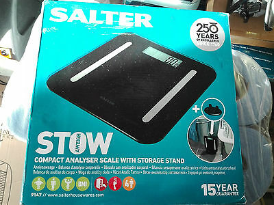 SALTER StowAWeigh Compact Analyser Body Scale with Storage Stand 9147BK3R