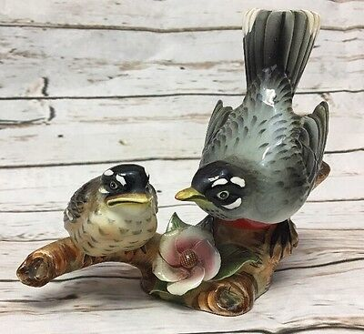Vintage Lefteris Exclusives Robin Figurine Pair Robins Birds Pink Flower Branch