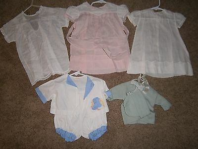 5 Vintage Hand Embroided Children Clothes 3 Baby Dresses Boy Set & Sweater & Cap