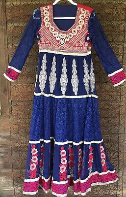 Vintage KUCHI  Dress, TRIBAL  Embroidery  Blue ETHNIC Abaya