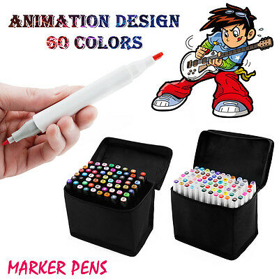 60x Farbe Marker Stifte Sats Graphic Alcohol Sketch Marker Pen Weiß TH260
