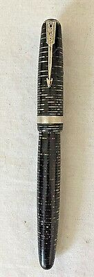 Vintage Parker Vacumatic Black Pearl Nickel Plated Trim 14K #6 Nib