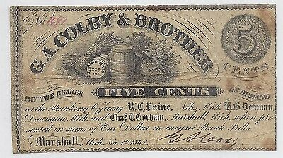 1862 US Fractional Currency - G.A. Colby & Brothers 5 Cents, Marshall MI*