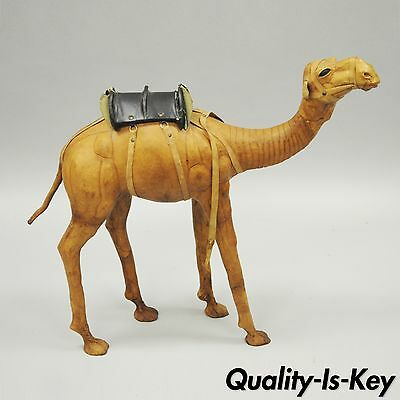 "27"" Vintage Dromedary Camel Leather Wrapped Figure Figurine Large Statue Saddle"