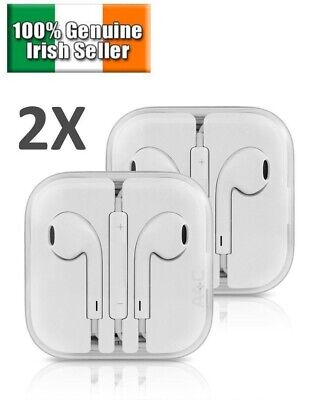 2 PACK Earphones EarPod Earbuds for Apple iPhone 4 5 6 7 8 10 Headphones Mic