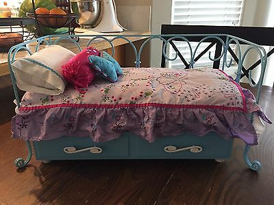 American Girl Doll Curlicue Daybed with Trundle and Butterfly Bedding