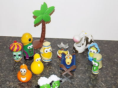 2004 VEGGIE TALES NATIVITY REPLACEMENTS LOT CHRISTMAS! BABY JESUS  COW fuigures