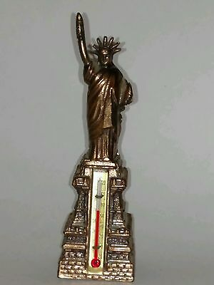 """Vintage Metal Statue of Liberty Thermometer Souvenir of New York 6"""" Tall"""