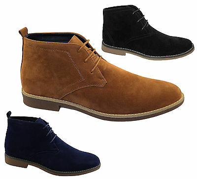 New Mens Suede Winter Ankle High Top Desert Boots Casual Lace up Formal Shoes