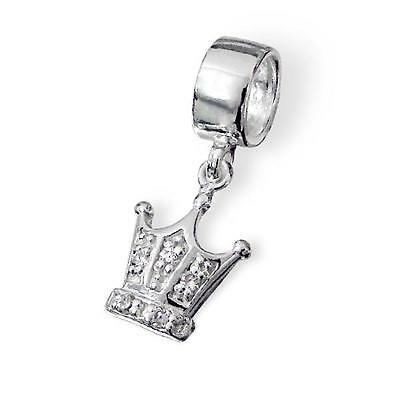 925 Sterling Silver Queen/King Crown Gems Bracelet Charm Bead Gift Boxed B107