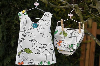 Handmade Cross Over Pinafore Dress With Matching Nappy Cover Pants 18 Months