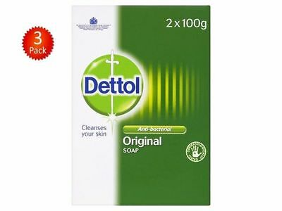 Dettol Anti-Bacterial Original Soap 2 x 100g - Pack of 3 (Total 6 Bars) - UK DEL