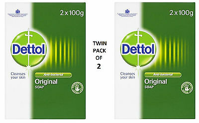 Twin Pack of Dettol Original Soap - Anti-bacterial - 4 x 100g - UK STOCK